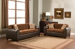 2 Piece Micro Fiber and Faux Leather Sofa Set
