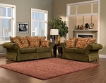 2 Piece Traditional Olive Green Sofa Set
