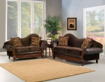 2 Piece Arched Backed Brown Sofa Set