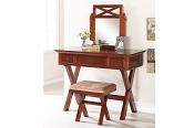 Dark Cherry Vanity Set with Stool