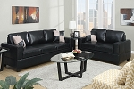 2 Piece Black Faux Leather Sofa Set