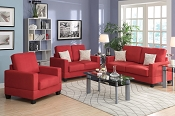 3 Piece Red Miro Fiber Suede Sofa Set