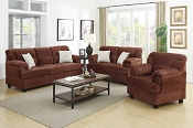 3 Piece Chocolate Miro Fiber Suede Sofa Set
