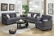 3 Piece Grey Miro Fiber Suede Sofa Set