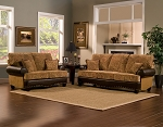 2 Piece Earth Tone Contemporary Sofa