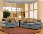 2 Piece Light Blue Sofa Set with Combination Pillows