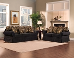 2 Piece Black with Abstract Gold Combination Sofa Set