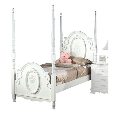 White Post Bed with Floral Decal Design
