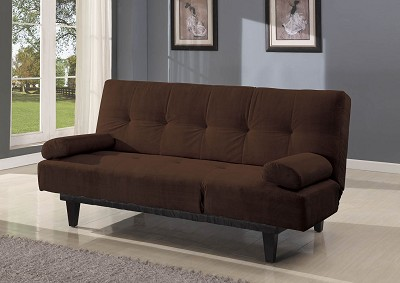 Brown Adjustable Sofa with 2 Throw Pillows