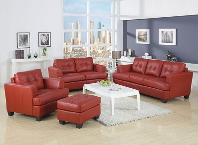 Red Bonded Leather Sofa