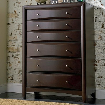 Cappuccino Finish Contemporary 6 Drawer Chest