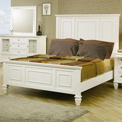 White Classic Queen High Headboard Bed
