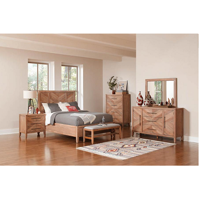 Coaster Scott Living Auburn Panel Bed in White Washed Natural
