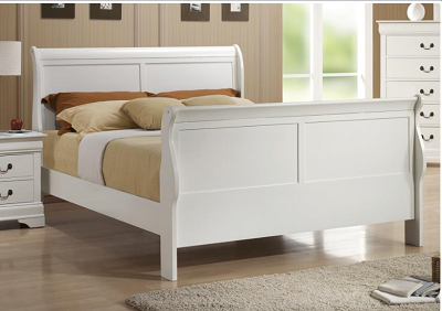 Louis Philippe White Slay Bed- Full or Queen