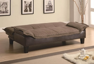 Sofa Bed with Dark Brown Leather-Like Base