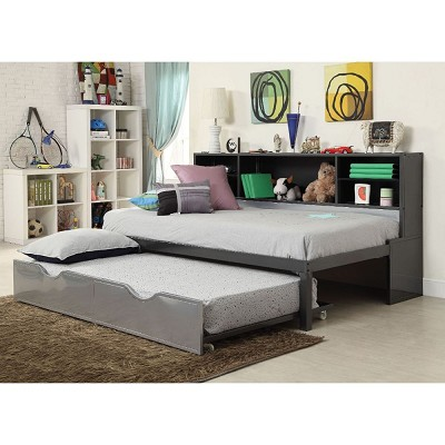 Silver and Black Finish Twin Bed with Trundle