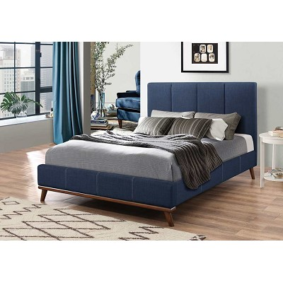 Blue Woven Fabric Upholstery Bed Frame