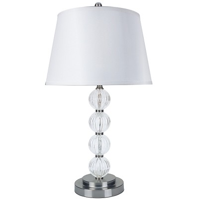 28.5 in. Satin Nickel Glass Table Lamp