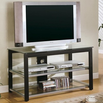 Contemporary Metal and Glass Media Console