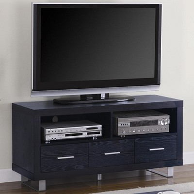 Contemporary Media Console with Shelves and Drawers