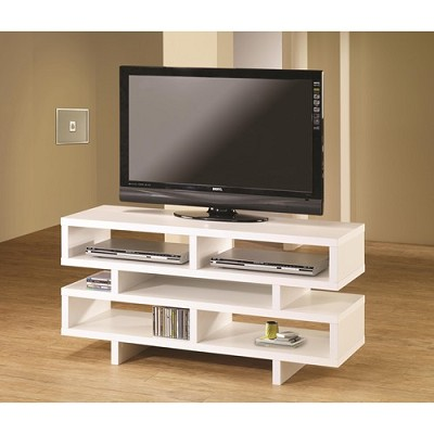 Contemporary TV Console with Open Storage and White Finish