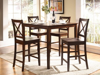 5 Piece Wooden Counter Height Dinning Set