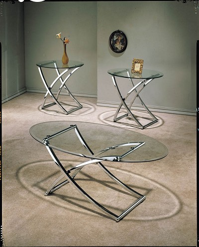 3 Piece Metal and Glass Coffee Table set