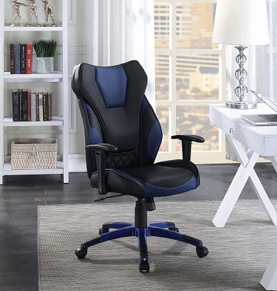 Black/ Blue Leatherette Office Chair