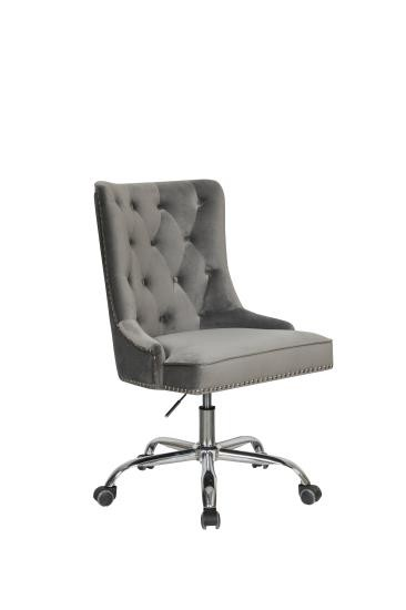 Grey Velvet Office Chair