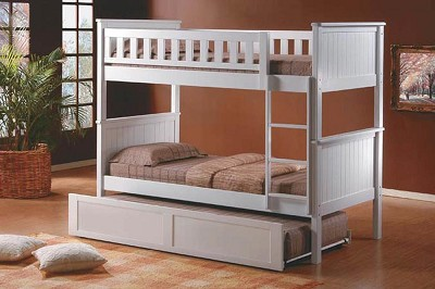 White  Bunk with Trundle Bed