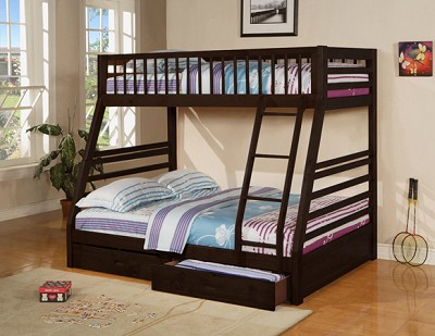 Espresso Finish Twin/Full Convertible wooden bunk bed