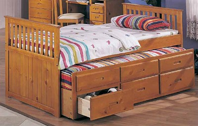 Trundle Twin Captain Bed with Drawers - color option