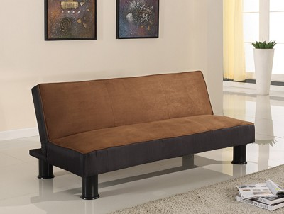 Brown and Black Micro Fiber Adjustable Futon Sofa Bed