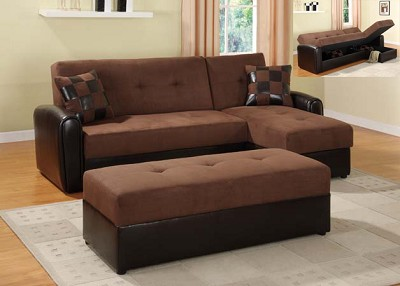 Click Clack Sectional Love Seat and Chase Both with Storage Function