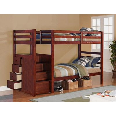 Espresso Finish Twin Twin With Drawer Stair Bunk Bed
