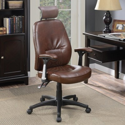 Office Chair with Brown Faux Leather