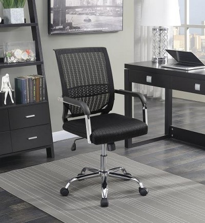 Black Finish Office Chair with Chrome Legs