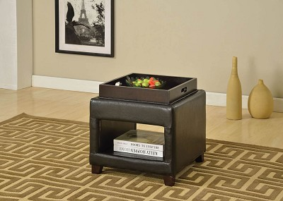 Dark Brown Ottoman with Tray