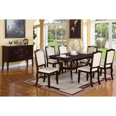 7 Piece Solid Wood Cappuccino with White Faux Leather