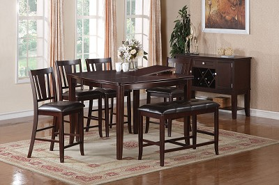 6 Piece Wooden Counter Height Dinning Set with Bench
