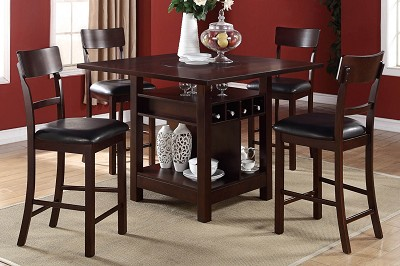 5 Piece Wooden Counter Height Table with Wine Compartment