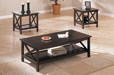 3 Piece Wood Top Table Set