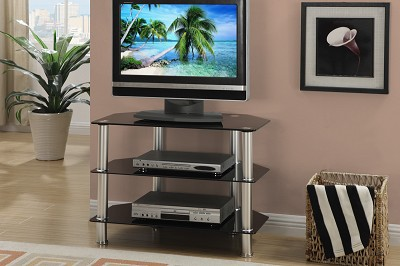 Black Tempered Glass with Metal Finish TV Stand