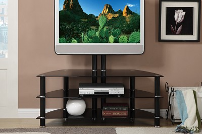 Black Tempered Glass TV Stand Finish