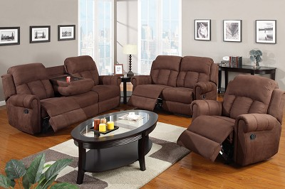 3 Piece Micro Fiber Recliner Sofa set with Cup Holders