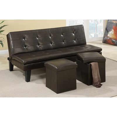 Faux Leather Sofa Bed with 2 Ottomans