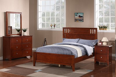 Light Cherry Finish Wood Bed Frame