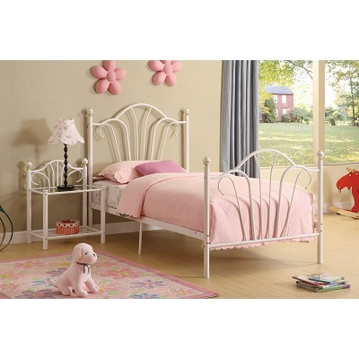 White Metal Twin Bed Frame With Slats