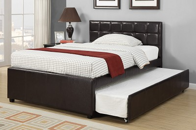 Espresso Faux Leather Bed Frame With Trunde