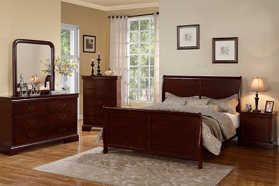 Cherry Wood Slay Bed Frame